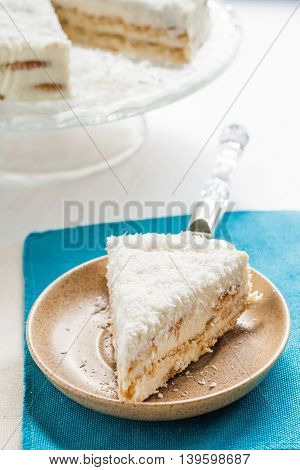 On A Piece Of Coconut Cake Plate