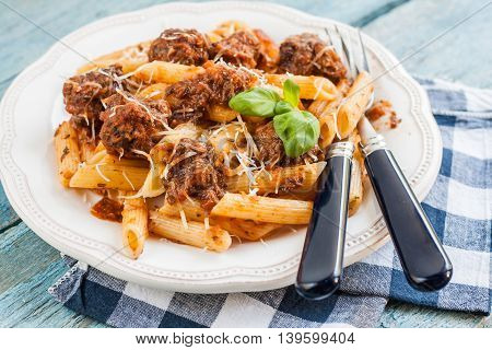 Penne Pasta With Meat Balls In Tomato Sauce