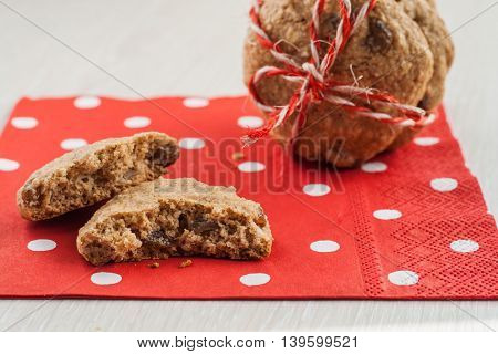Dietary Cookies With Dried Fruits On Red Napkin And Tied With A Rope