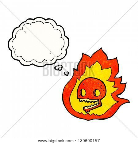 freehand drawn thought bubble textured cartoon burning skull