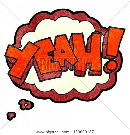 yeah! freehand drawn thought bubble textured cartoon shout