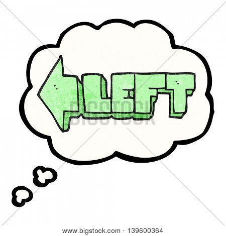 freehand drawn thought bubble textured cartoon left symbol