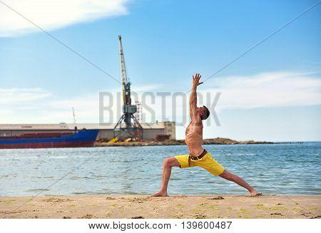 Caucasian Man Acts Yoga