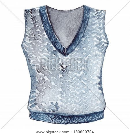 Watercolor school uniform knitted vest isolated object