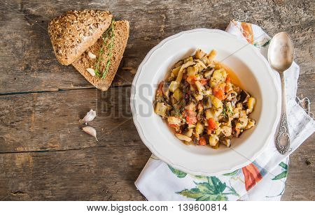 Vegetable Stew With Italian Herbs In A Rustic Style