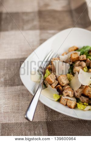 Caesar Salad With Chicken, Lettuce And Cheese