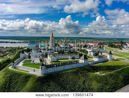 Tobolsk, Russia - July 15, 2016: Bird eye view onto Tobolsk Kremlinwith St. Sophia-Assumption Cathedral in summer day. Tyumen region