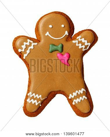 Gingerbread man isolated on a white background