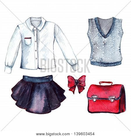 School clothes pupil uniform form fashion look set isolated