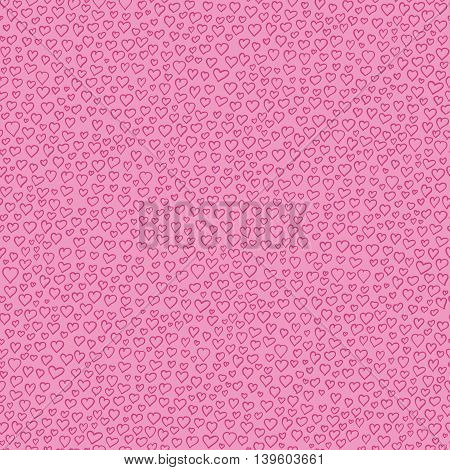 Valentine Seamless Vector Pattern with Pink Hearts on a Pink Background