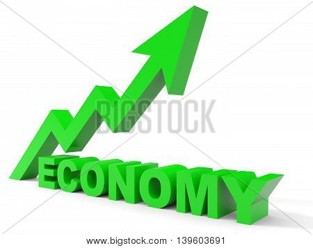 Graph up economy arrow on white background. 3D illustration.
