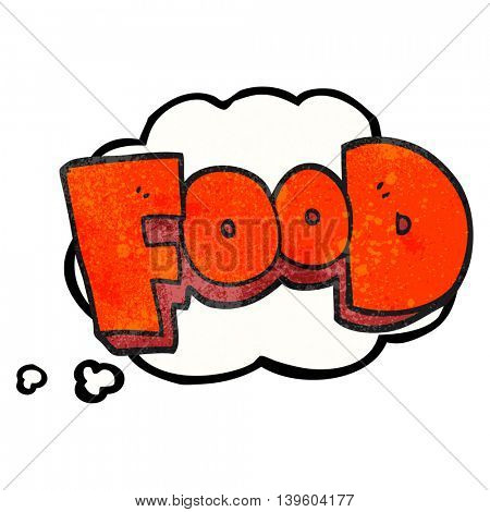 freehand drawn thought bubble textured cartoon word food
