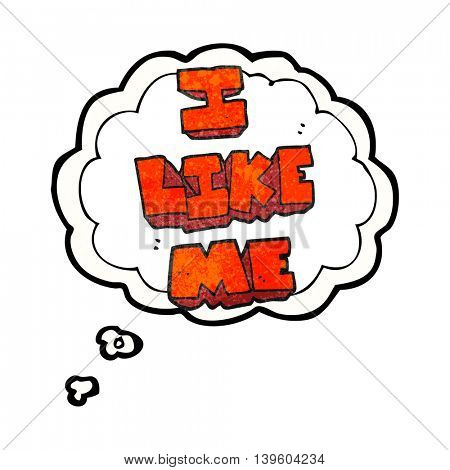 freehand drawn thought bubble textured cartoon i like me symbol