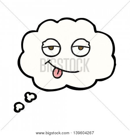 freehand drawn thought bubble textured cartoon tired eyes
