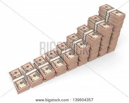 Money Stacks Graph. Ten Dollars.