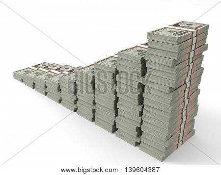 Money Stacks Graph. Twenty Dollars.