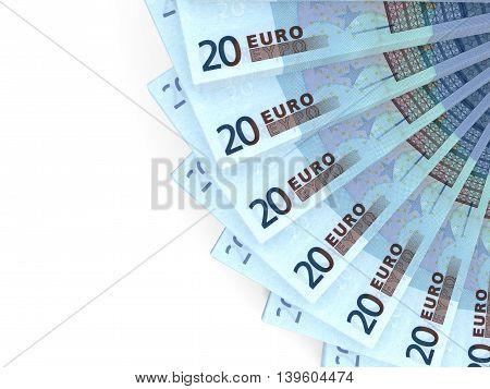 Money fan on white background. Twenty euros. 3D illustration.