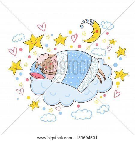 Sweet lamb sleeping on a cloud under a blanket.Vector illustration.