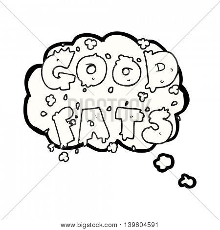 freehand drawn thought bubble textured cartoon good fats sign