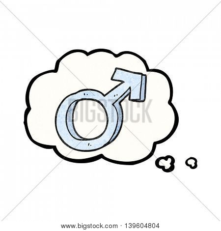 freehand drawn thought bubble textured cartoon male symbol