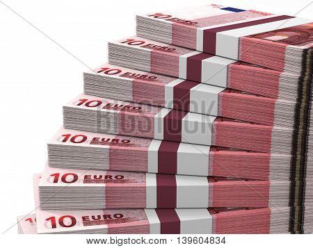 Stacks Of Money. Ten Euros.