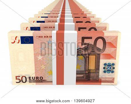 Stacks Of Money. Fifty Euros.