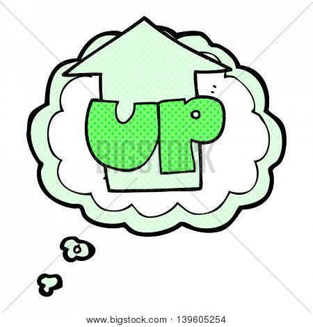 freehand drawn thought bubble cartoon up symbol