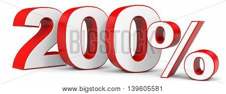 Discount 200 percent on white background. 3D illustration.
