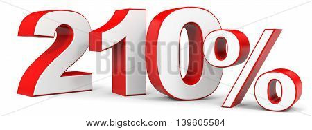 Discount 210 percent on white background. 3D illustration.