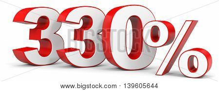 Discount 330 percent on white background. 3D illustration.
