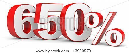 Discount 650 percent on white background. 3D illustration.