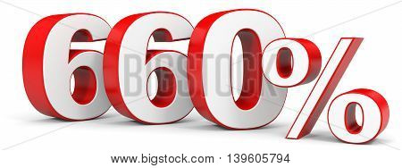 Discount 660 percent on white background. 3D illustration.