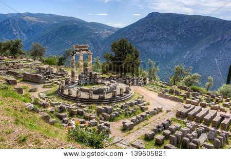 Sanctuary of Athena Pronaia in ancient Delphi, Greece