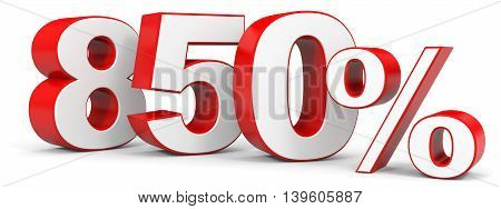 Discount 850 percent on white background. 3D illustration.