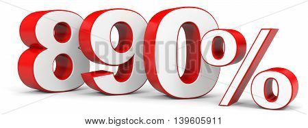 Discount 890 percent on white background. 3D illustration.