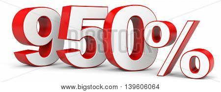 Discount 950 percent on white background. 3D illustration.