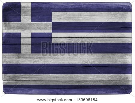 horizontal front view 3d illustration of an Greece flag on wooden cooking textured board
