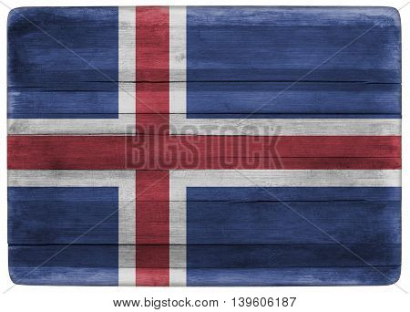 horizontal front view 3d illustration of an Iceland flag on wooden cooking textured board
