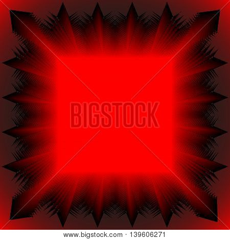 Red tablecloth. The pattern of the bulk of the square and geometric lines on a black background.