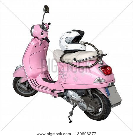 front view pink motorcycle and helmet isolated on a white background
