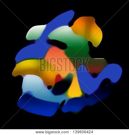 Abstract non-objective composition on black background.Graphic composition.