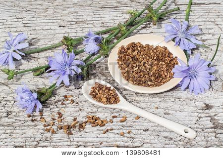 Medicinal plant chicory: flowers and ground roots on a plate and spoon on the old wooden background. The roots of the plants are used as a substitute for coffee