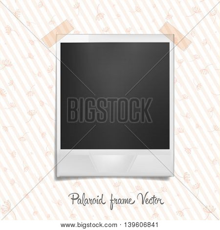 Polaroid frame on wallpaper. Photo template with shadow effect. Vector illustration