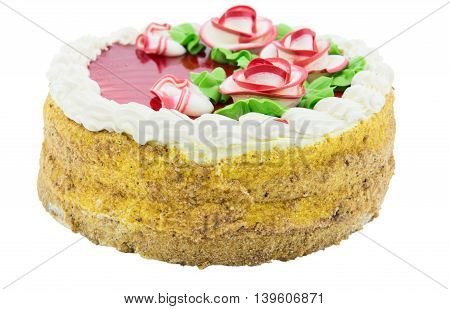 Festive homemade cake sweet pastry covered with icing