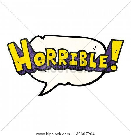 freehand speech bubble textured cartoon word horrible
