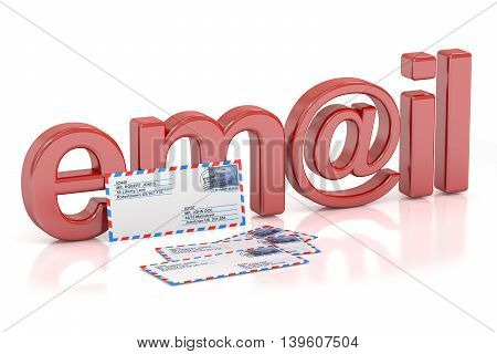 E-mail concept 3D rendering isolated on white background