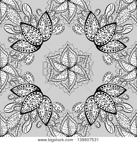 Vintage pattern on gray background with doodles elements.