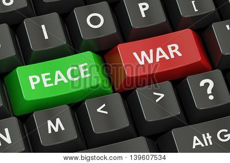 war and peace concept on the black keyboard 3D rendering
