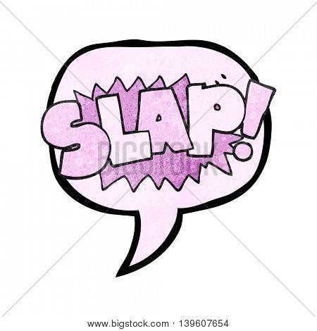 freehand speech bubble textured cartoon slap symbol