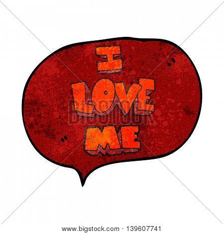 i love me freehand speech bubble textured cartoon symbol